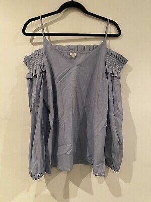 River Island Blue Pinstripe Off The Shoulder Ruffle Top Size 14 • 9£