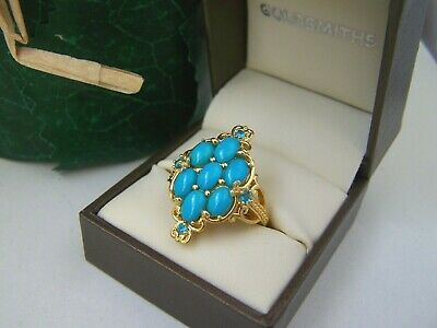 Amazing Gold Plated Solid Sterling Silver Turquoise Topaz Dress Ring Size Q 8 • 69.99£
