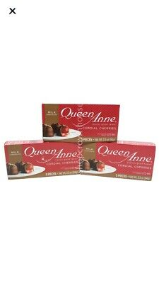 $15 • Buy 3 Boxes Queen Anne CORDIAL CHERRIES 3.3oz Chocolate Covered Maraschino Valentine