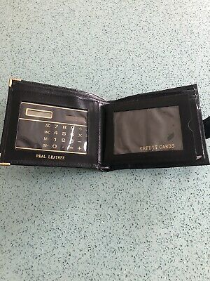 Men's Black Leather Wallet Credit Card Holder & Calculator BNWOT • 1.25£