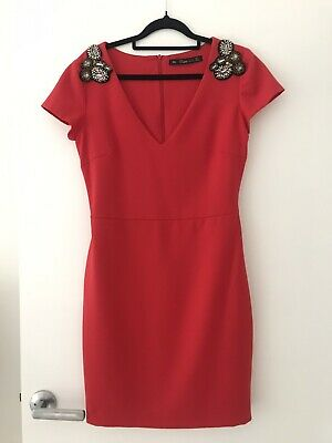 AU20 • Buy Zara TRF Red Dress Size Large, Fits Small Or 8-10 Beaded Shoulder Detail