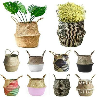 Woven Seagrass Belly Basket Plant Flower Storage Straw Pot Home Decorations Hot • 13.09£