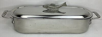 $359.99 • Buy All-Clad Fish Poacher Steamer Stainless Steel Sculpted Fish Handle 18  X 7  X 4
