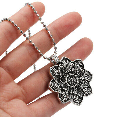 $ CDN4.61 • Buy Lotus Flower Buddhist Necklace Flower Pendant Necklaces Om Mandala Pendant