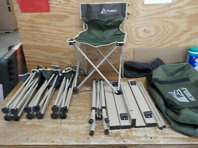 HEWOLF Outdoor Portable Camping Folding Table Chair Set 5pcs-Army Green • 52.35£