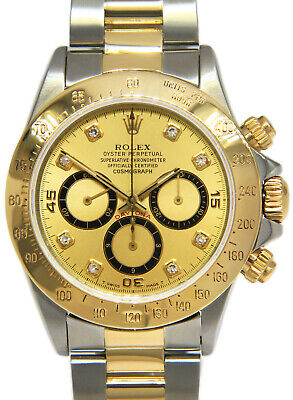 $ CDN20133.68 • Buy Rolex Daytona 18k Yellow Gold & Steel Champagne Diamond Dial 40mm Watch 16523