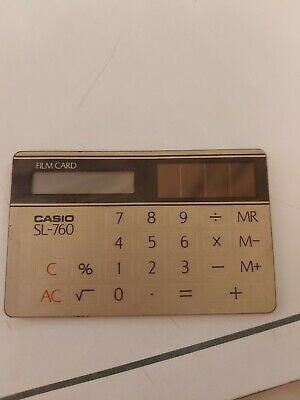 ORGIINAL VINTAGE CASIO SL-760 CREDIT CARD SOLAR POWERED CALCULATOR 1970 - 80's • 10£