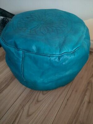 Turquoise Genuine Leather Pouffe Moroccan Handmade New Poufe Pouf Large • 29.99£