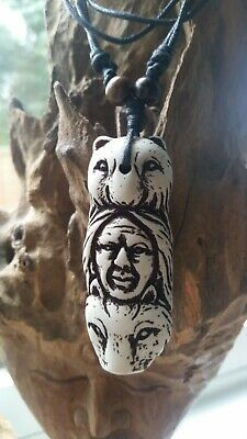 Native American Necklace Bear Wolf Chief BLESSED Totem Shaman White Sage Warrior • 14.99£