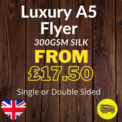£44.03 • Buy Luxury A5 Flyer - (210mm X 148mm) Printed Single Or Double Sided On 300gsm Silk