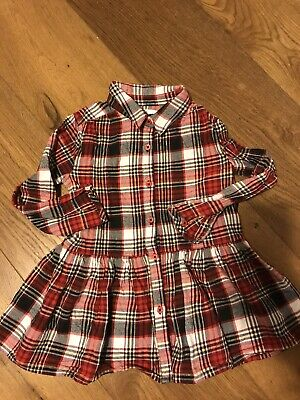 Long Sleeves Buttoned Checked M&S Girls Dress 3-4 Years • 4£