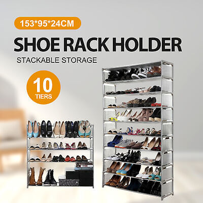 AU23.40 • Buy 50 Pairs 10 Tiers Stackable Storage Shoe Rack Cabinet Organiser Fabric Gray