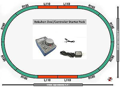 AU126.86 • Buy Rokuhan Z Scale Starter  Bundle RC02/R028 Controller Oval Of Track & Adapter