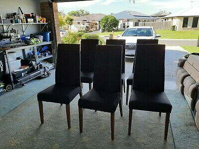 AU0.99 • Buy  6 Fabric Covered Dark Grey High Back Dining Chairs.   Hardly Used
