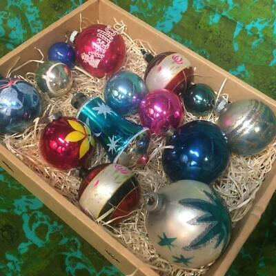 $ CDN1.26 • Buy 14 GREAT VINTAGE 1950s BLOWN GLASS CHRISTMAS TREE ORNAMENTS - SHINY BRITE & MORE