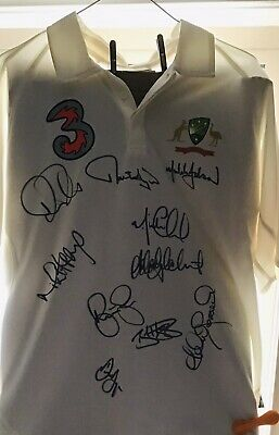 AU425 • Buy Signed Australian Cricket Test Shirt Signed By Ricky Pointing Mike Hussey + More