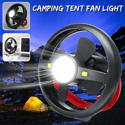 AU45.98 • Buy NEW Rechargeable LED Light Tent Camping Fan Hanging Hook Portable Lamp Torch