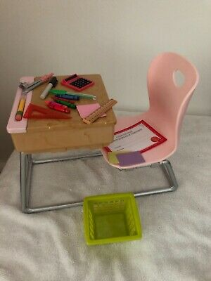 Our Generation Doll School Desk Pink With Accessories • 29.99£