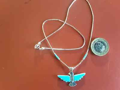 Silver And Turquoise Eagle In Flight Necklace With Liquid Silver Chain.  • 24.50£