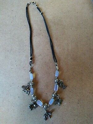 Cord, Blue Glass Beads And Safari Animals Necklace  • 1.10£
