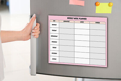 £7.68 • Buy Magnetic Fridge Weekly Meal Diet Planner -Dry Wipe- Main Meals Plan-A4 Size Pink