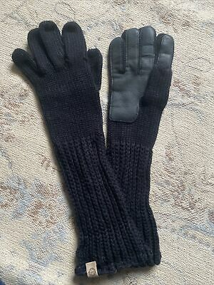 UGG Black Long Knitted Gloves With Leather Palms One Size • 22£