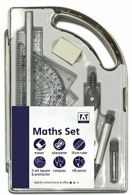 £3.25 • Buy 9 Piece Maths Geometry Set Back To School Exam Stationery Protractor Compass New