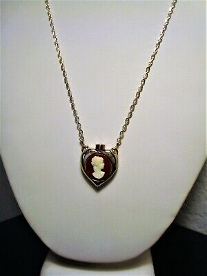£46.18 • Buy Silver Plated Heart Shaped Cameo Perfume Bottle Pendant Necklace