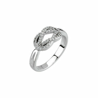 AU998.76 • Buy Diamond Knot Promise Ring In 14K White Gold (1/5 Ct. Tw