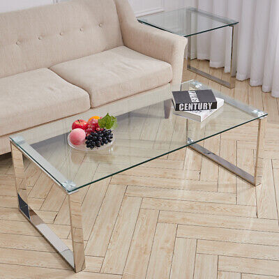 Modern Coffee Table Chrome Legs And Tempered Glass Side Living Room Coffee Table • 102.95£