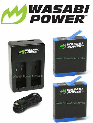 AU59.95 • Buy HERO8 Battery (2-Pack) Wasabi Power And USB Dual Charger For GoPro HERO8 Black
