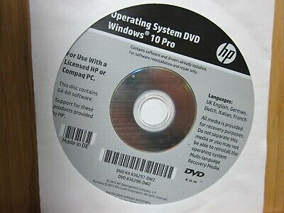 $ CDN28.04 • Buy HP Reinstallation DVD Windows 10 Professional 64-Bit 836297-DW2, 836298-DW2
