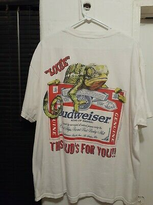 $ CDN49.42 • Buy Vintage 1999 Budweiser Beer This Bud's For You Lizard Big Print T Shirt Size XL