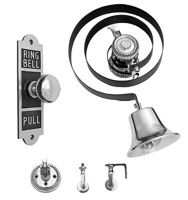Victorian Butlers Bell Kit C/w Rectangular Brass Pull Rope Chrome Bell & Pulleys • 84.94£