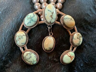 Ceremonial Native American Silver And Turquoise Squash Necklace • 450£