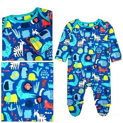 New Mothercare Baby Boys Blue Zoo Animals Baby Grow Sleepsuit 1-3 Months Gift • 4.99£