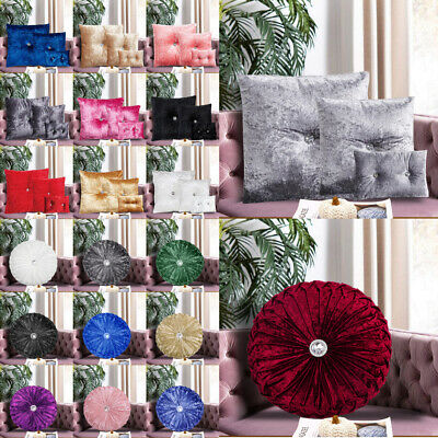 Luxury Crushed Velvet Diamante Filled Cushions Small Large Bedroom Sofa Cushion • 14.99£
