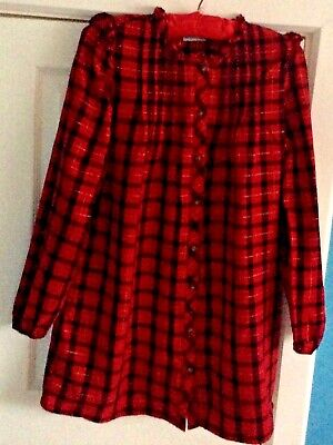 NEXT Red & Black Checked Dress Age 13 Years • 1.99£