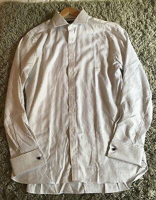 BN Mens M&S Tailored Fit Pure Cotton White & Blue Striped Shirt 16 Collar £45 • 14.99£