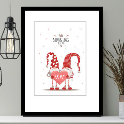Valentine's Gift Anniversary, Engagement Present Personalised PRINT Only Gnome  • 4£