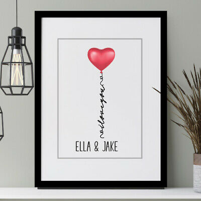 Valentine's Gift Anniversary, Engagement Present Personalised PRINT Only Heart • 4£