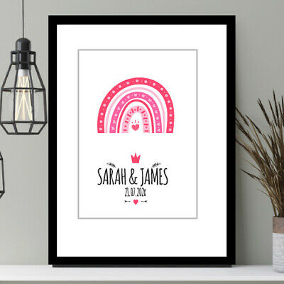 Valentine's Gift Anniversary, Engagement Present Personalised PRINT Only Rainbow • 4£