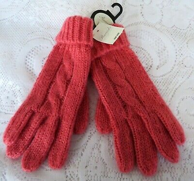 £3.99 • Buy Ladies Women's Woolly Coral Pink Cable Knit Gloves BNWT Peacocks New