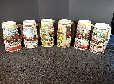 $ CDN50.80 • Buy Vintage 1980's Set Of 6 Budweiser Clydesdale Holiday Steins