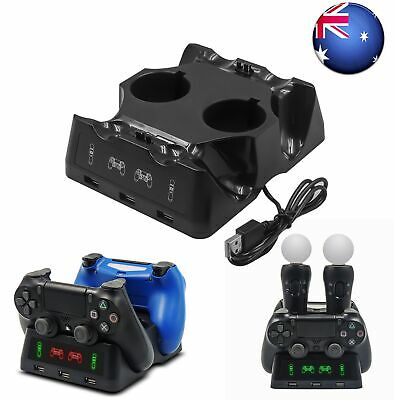 AU19.99 • Buy 4 In 1 Controller Charging Dock Station Stand For Playstation PS4 PSVR VR MOVE