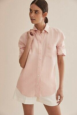 AU59 • Buy COUNTRY ROAD WOMENS LINEN SHIRT In Rose RRP$119 Size 10