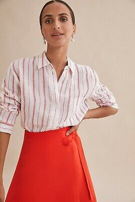 AU49 • Buy COUNTRY ROAD WOMENS STRIPE LINEN SHIRT In White RRP$119 Size 8