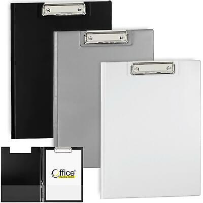 OfficeCentre® 3 X Clipboards Noir Strong Fold Over Cover Folder Clip Boards • 11.60£