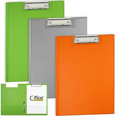 OfficeCentre® 3 X Clipboards Bright Strong Fold Over Cover Folder Clip Boards • 12.80£