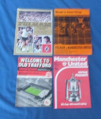 4 X Different Fulham V Manchester United Programmes 1970's • 2.50£